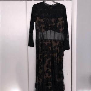 Tadashi lace gown with leather